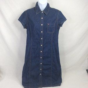 Tommy Hilfiger Denim Dress Snap Front 12 Short Slv